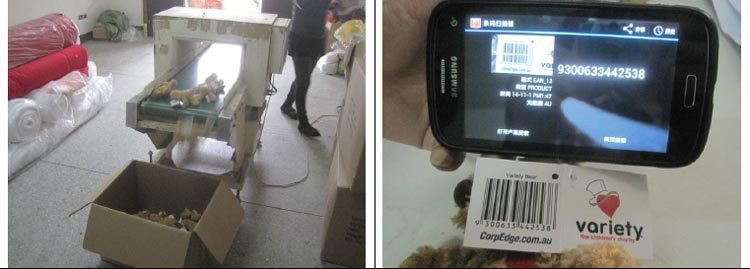 Toys inspection Metal detection test and barcode scanning test