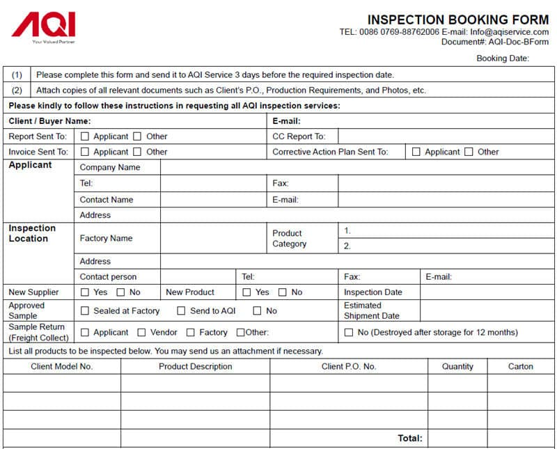 Product Inspection Service booking form and booking process