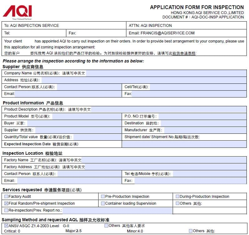 Product Inspection Service booking process and application
